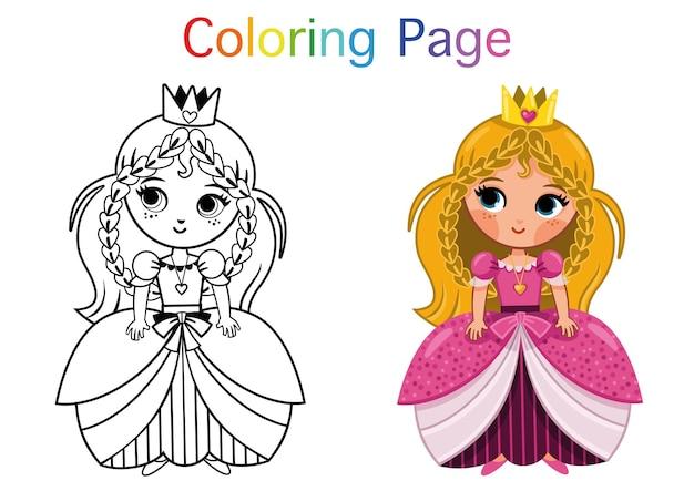 Ilustração em vetor página para colorir de princesa