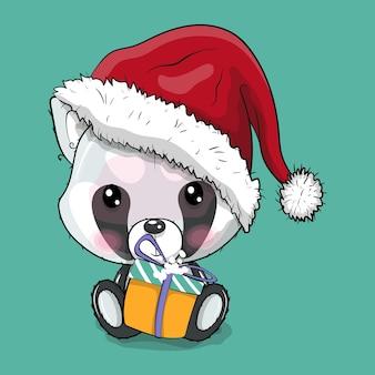 Ilustração em vetor panda bonito dos desenhos animados com chapéu de natal