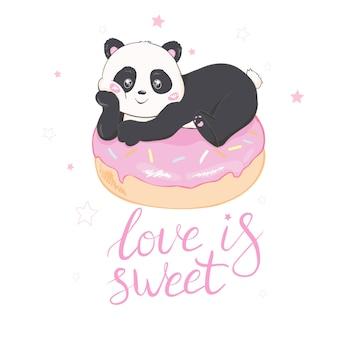 Ilustração em vetor panda bonito
