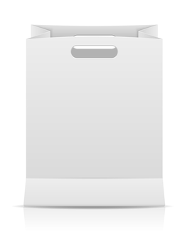 Ilustração em vetor papel branco sacola de compras isolada no fundo