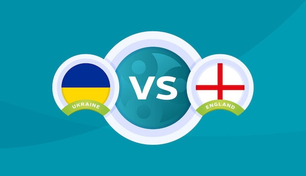 Ilustração em vetor partida ucrânia vs inglaterra campeonato de futebol 2020