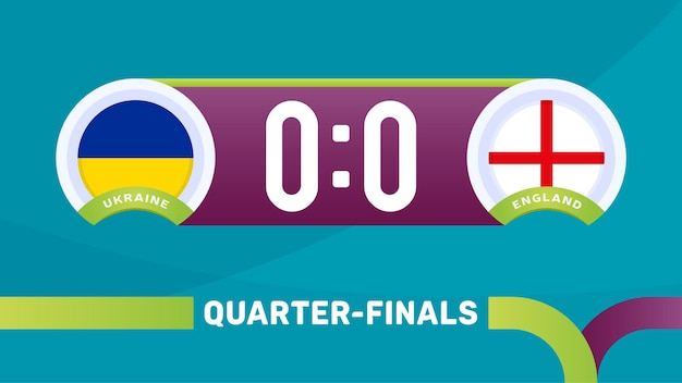 Ilustração em vetor partida ucrânia vs inglaterra campeonato de futebol 2020 Vetor Premium