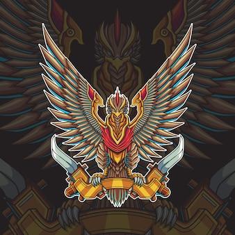 Ilustração em vetor pássaro mecha