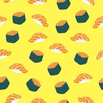 Ilustração em vetor patern sem costura sushi