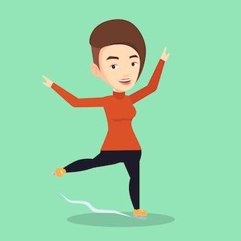 Ilustração em vetor patinador feminino.