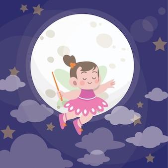 Ilustração em vetor pequena princesa fada