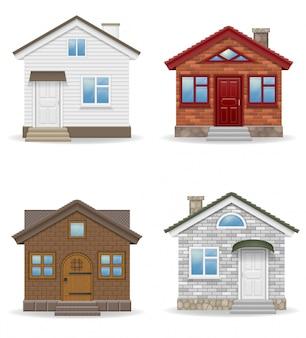Ilustração em vetor pequeno país casa