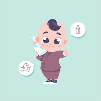 Ilustração em vetor personagem bebê fofo