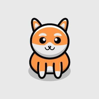 Ilustração em vetor personagem cachorro fofo