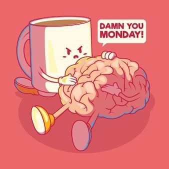 Ilustração em vetor personagem café e cérebro. motivação, inspiração, conceito de design de energia