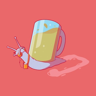 Ilustração em vetor personagem cool rocking snail diversão de música, festa, conceito de design de marca