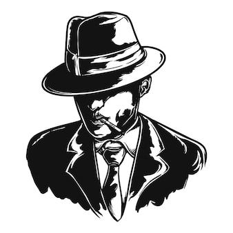 Ilustração em vetor personagem da máfia