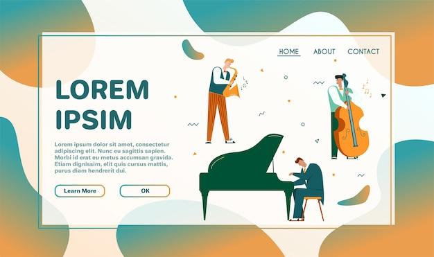 Ilustração em vetor personagem de banda de jazz executar música. músicos tocam instrumentos: piano, bateria, guitarra, contrabaixo, trompete e saxofone