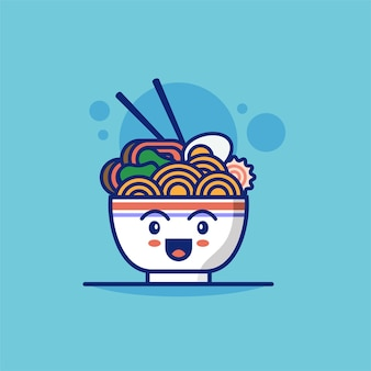 Ilustração em vetor personagem de macarrão ramen bonito pode ser usado para emoji de aplicativo de ícone de interface do usuário da web emoticon