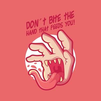 Ilustração em vetor personagem de mão de monstro engraçado conceito de design de terror de halloween