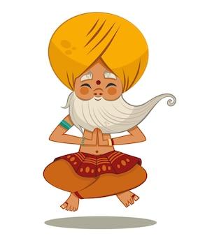 Ilustração em vetor personagem guru dos desenhos animados