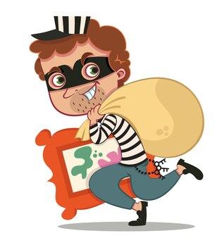 Ilustração em vetor personagem ladrão de desenho animado