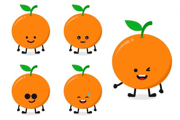 Ilustração em vetor personagem laranja fruta definida para expressão feliz
