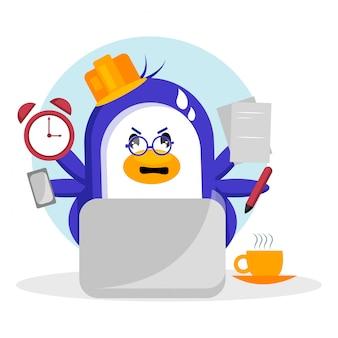 Ilustração em vetor pinguim multitarefa ocupada