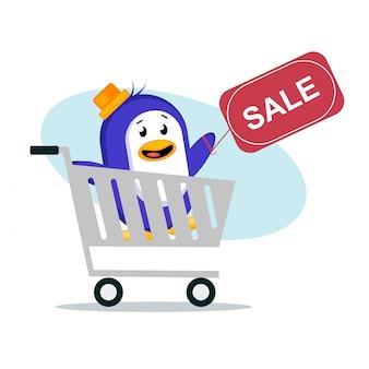 Ilustração em vetor pinguim venda