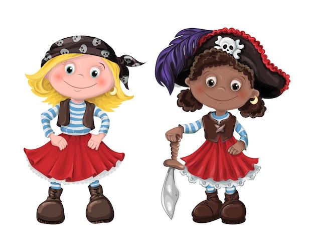 Ilustração em vetor pirata linda garota