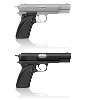 Ilustração em vetor pistola automática prata e preto