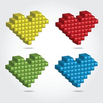 Ilustração em vetor pixel 3d para design - conjunto de corações