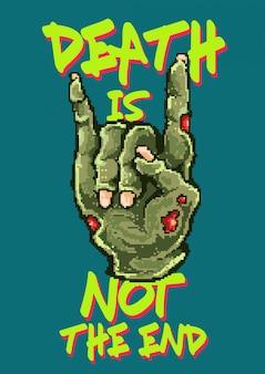 Ilustração em vetor pixel art da mão de zumbi morto com dedo de símbolo de metal. feito com estilo de cores de videogame dos anos 80.