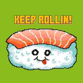 Ilustração em vetor pixel art da personagem de desenho animado de sushi kawaii. esta ilustração feita com estilo de cores dos anos 80 e citações motivacionais.