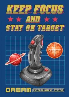 Ilustração em vetor pixel art de joystick gamepad com espaço, estrelas e galáxia.