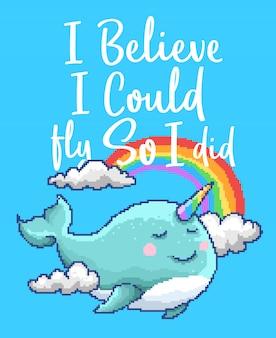 Ilustração em vetor pixel art de um animal kawaii de baleia unicórnio com arco-íris e nuvem e citações motivacionais com cores dos anos 90.