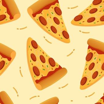 Ilustração em vetor pizza padrão sem emenda