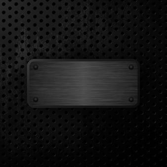 Ilustração em vetor placa de aço preta grunge fundo de metal
