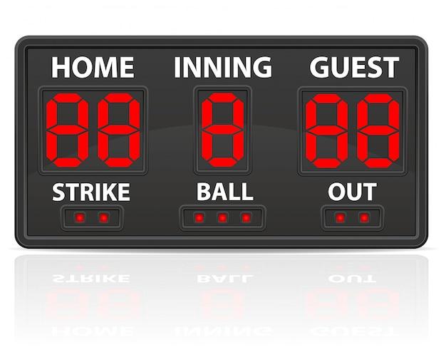 Ilustração em vetor placar digital esportes de beisebol