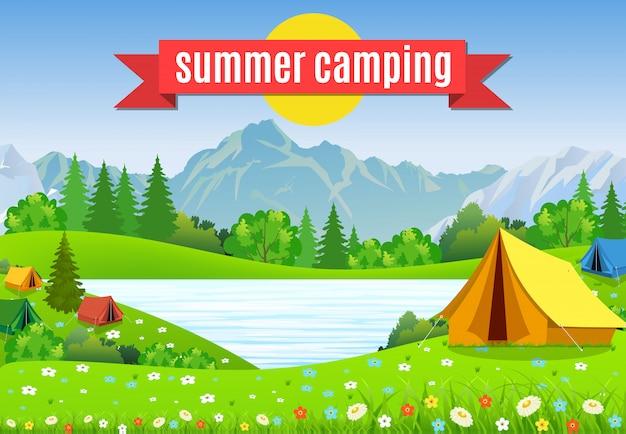 Ilustração em vetor plana acampar.