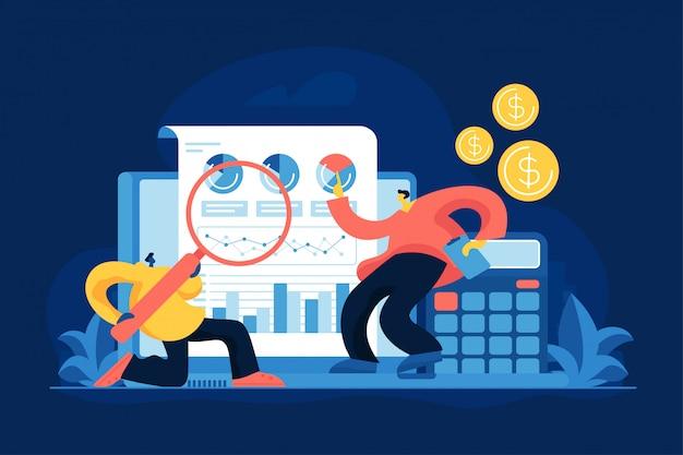 Ilustração em vetor plana análise de negócios