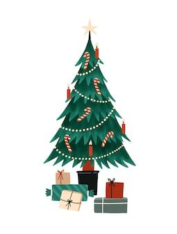 Ilustração em vetor plana árvore de natal
