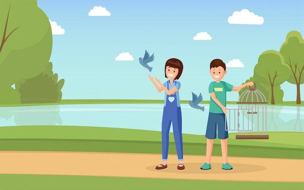 Ilustração em vetor plana ativistas dos direitos dos animais. voluntários de desenhos animados com pombas liberando gaiola aberta