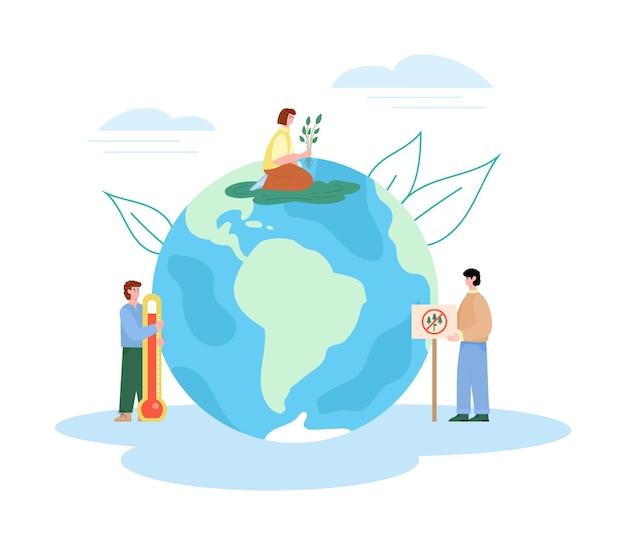 Ilustração em vetor plana bandeira aquecimento global e desmatamento isolada