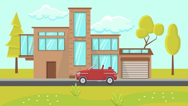 Ilustração em vetor plana casa design exterior.