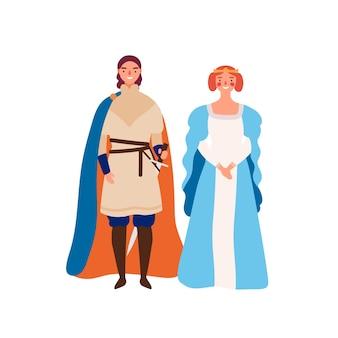 Ilustração em vetor plana casal real. personagens de desenhos animados de rei e rainha medievais. príncipe e sua senhora isolado no branco. governantes do reino. soberano com donzela. conto de fadas, personagens históricos.