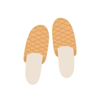 Ilustração em vetor plana chinelos marrons. par de sapatos confortáveis para casa com desenho de padrão. calçado doméstico isolado no fundo branco. elemento de vestuário para o lar. vista superior de chinelos de tecido.