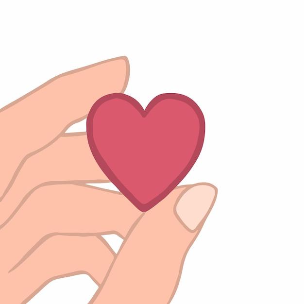 Ilustração em vetor plana colorida de uma mão de mulher segurando um coração vermelho