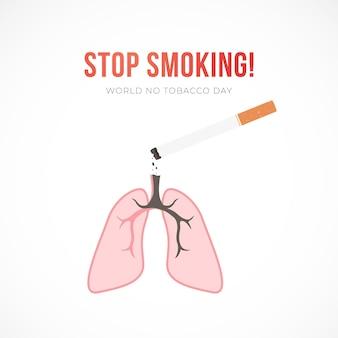 Ilustração em vetor plana com cigarro e pulmões