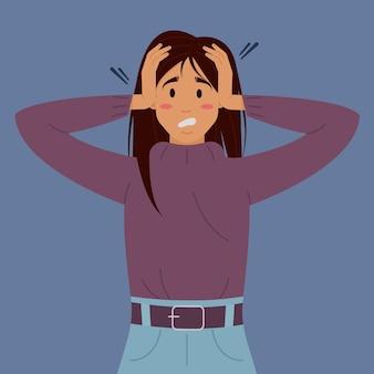 Ilustração em vetor plana com transtorno mental de uma mulher. a garota em pânico segura a cabeça dela