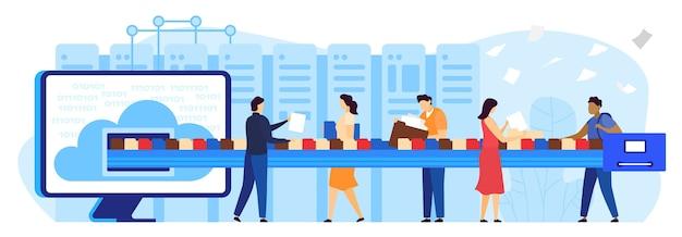 Ilustração em vetor plana conceito de armazenamento de dados de documento de arquivo em nuvem. desenhos animados enviando arquivo digital de informações multimídia e pasta de arquivos para o catálogo da biblioteca