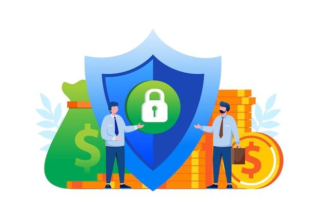 Ilustração em vetor plana conceito de banco de segurança de investimento