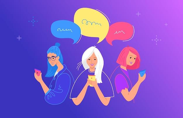 Ilustração em vetor plana conceito de bate-papo e comunicação de mídia social. adolescentes e meninas usando smartphone móvel para bate-papo, mensagens de texto, comentários nas redes sociais. jovens com balões de fala
