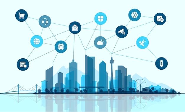 Ilustração em vetor plana. conceito de conexão de cidade inteligente. paisagem de tecnologia com ícones de linhas finas integrados