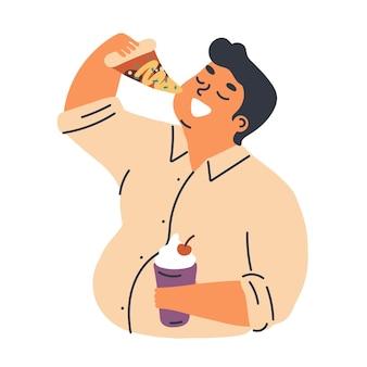 Ilustração em vetor plana conceito problema de obesidade masculina